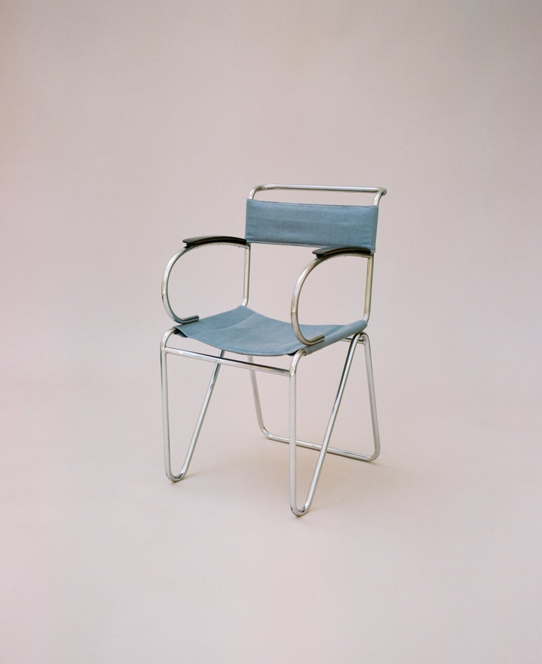 Willem Hendrik Gispen, Rare Diagonal Chair Variant, circa 1930 In Good Condition For Sale In Los Angeles, CA