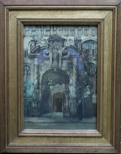 The University Church of St Mary Oxford - Dutch 1920's art painting figures gate