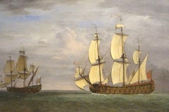 French Ship Under Press From The Royal Navy, 17th Century