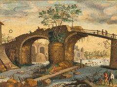 Figures In A Ruins & Bridge Landscape, 17th Century