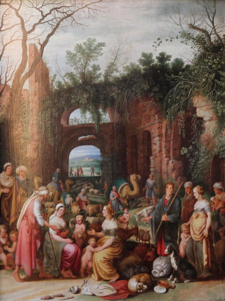 Laban Demanding the Return of the Teraphim from Rachel - Dutch Old Master art - Painting by Willem van Nieulandt II