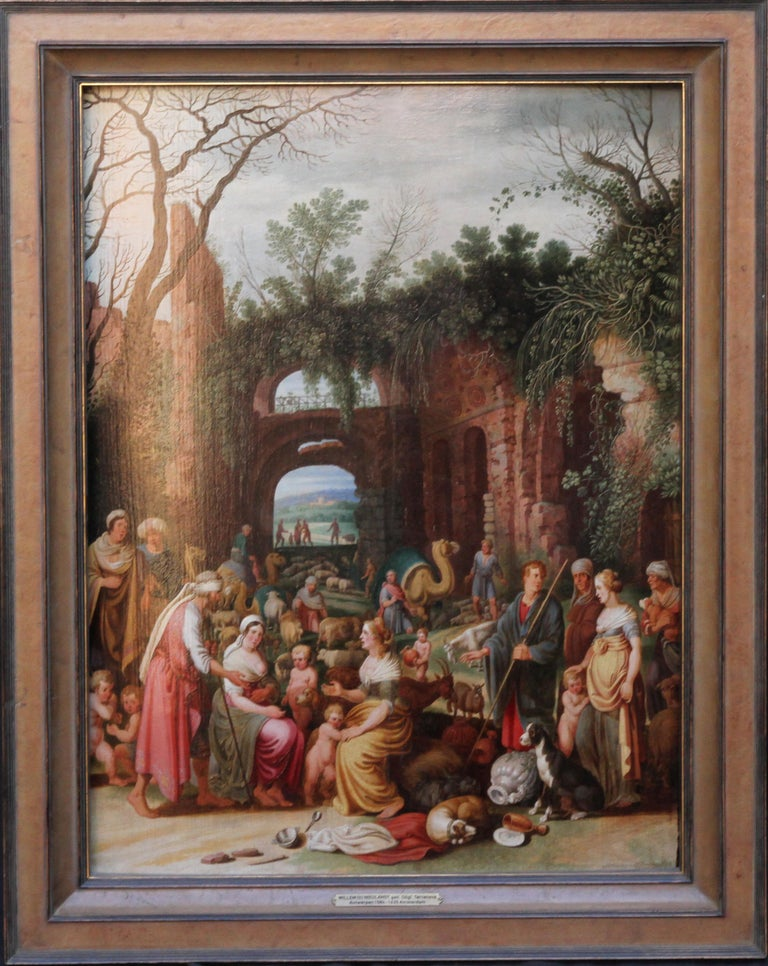 This very busy oil on panel is a Dutch Old Master painting dating to around 1620 by artist and poet Willem van Nieulandt. It is an incredibly detailed and colourful scene composed of numerous characters and animals set amongst ruins. It basically