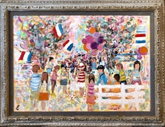 Large Fauvist Expressionist Oil Painting Kids, Balloons, French Flags, Colorful
