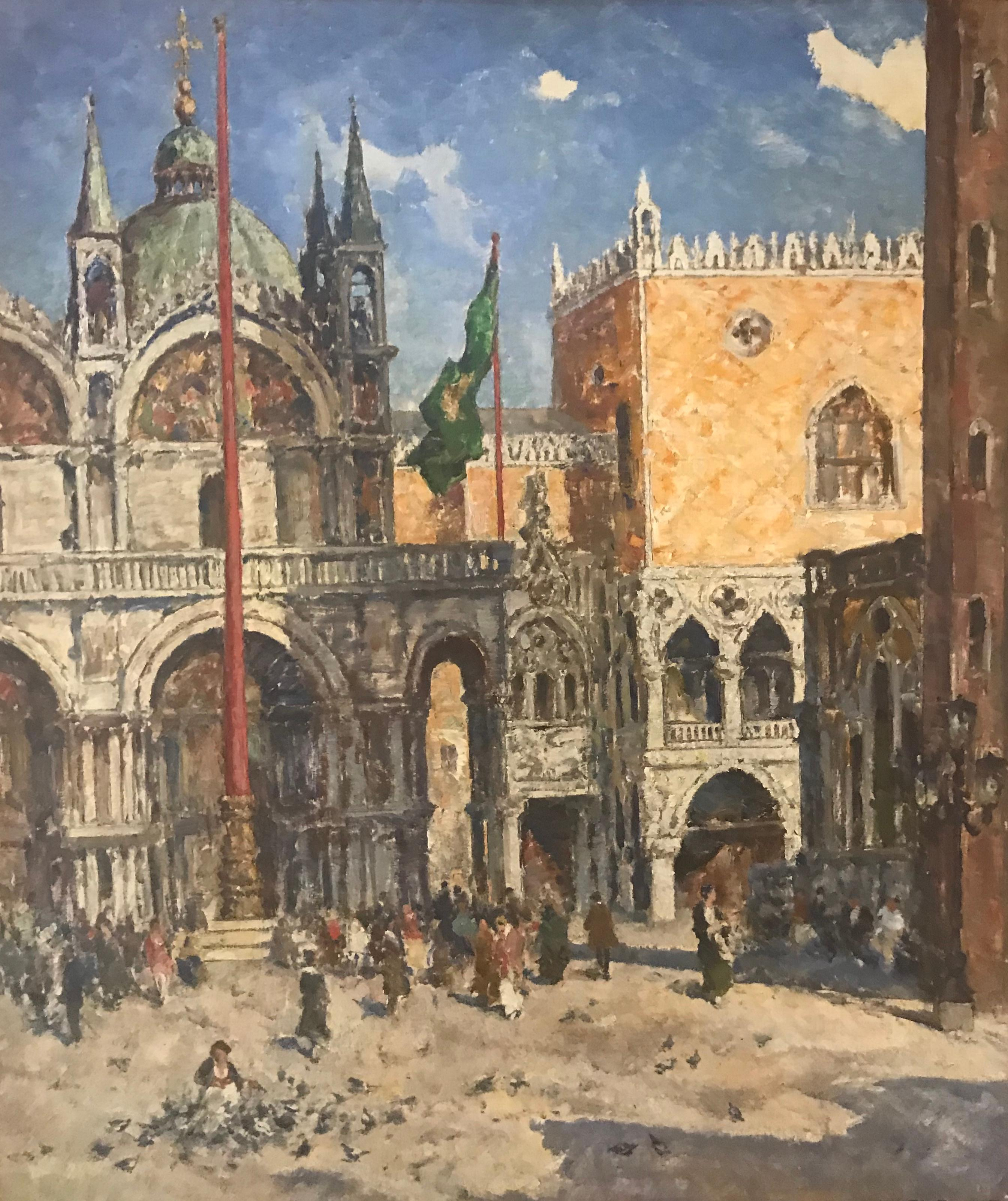 'St Marks Square' Venice painting of architecture & figures. Venetian City scene