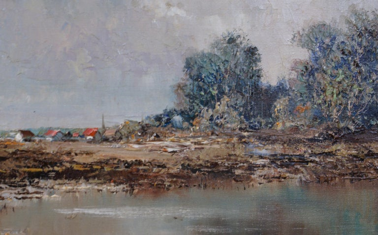 Landscape - Gray Landscape Painting by Willi BAUER
