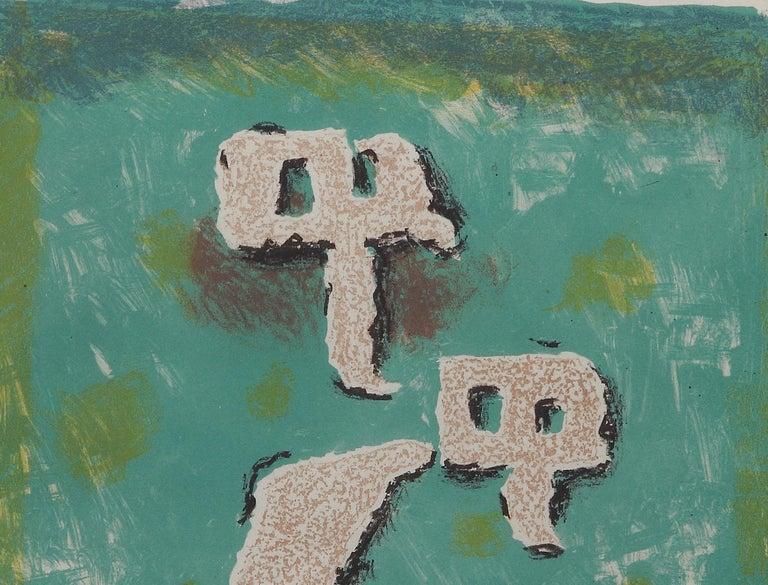 """Lutinus au Printemps"" ( Kobolde im Frühling ) Lithograph by Willi Baumeister For Sale 2"