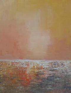 Orange - contemporary expressionistic abstract painting, metaphysical landscape