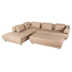 Willi Schillig Brand Face Leather Sofa Set Beige 1x Corner Sofa 1x Stool Couch