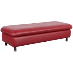 Willi Schillig Designer Footstool Red Leather Modern