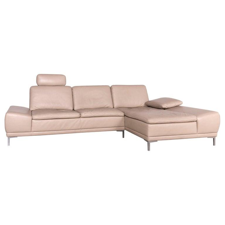 Willi Schillig Designer Leather Corner Sofa Beige Real Leather Sofa Couch