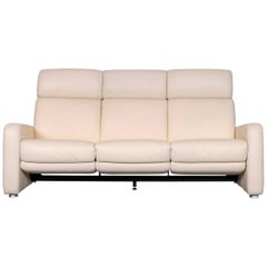 Willi Schillig Designer Leather Sofa Beige Three-Seat Couch with Function