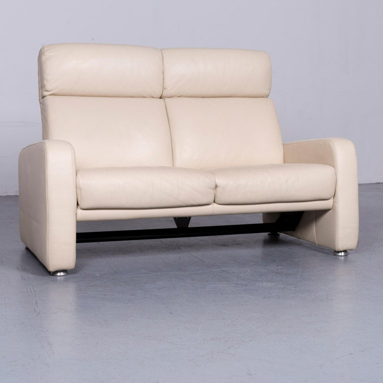 We bring to you an Willi Schillig designer leather sofa beige two-seat couch.