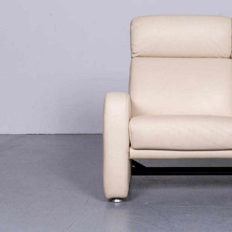 German Willi Schillig Designer Leather Sofa Beige Two-Seat Couch