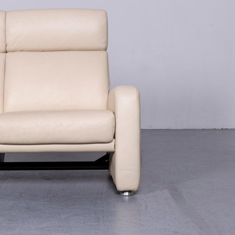 Willi Schillig Designer Leather Sofa Beige Two-Seat Couch In Good Condition In Cologne, DE