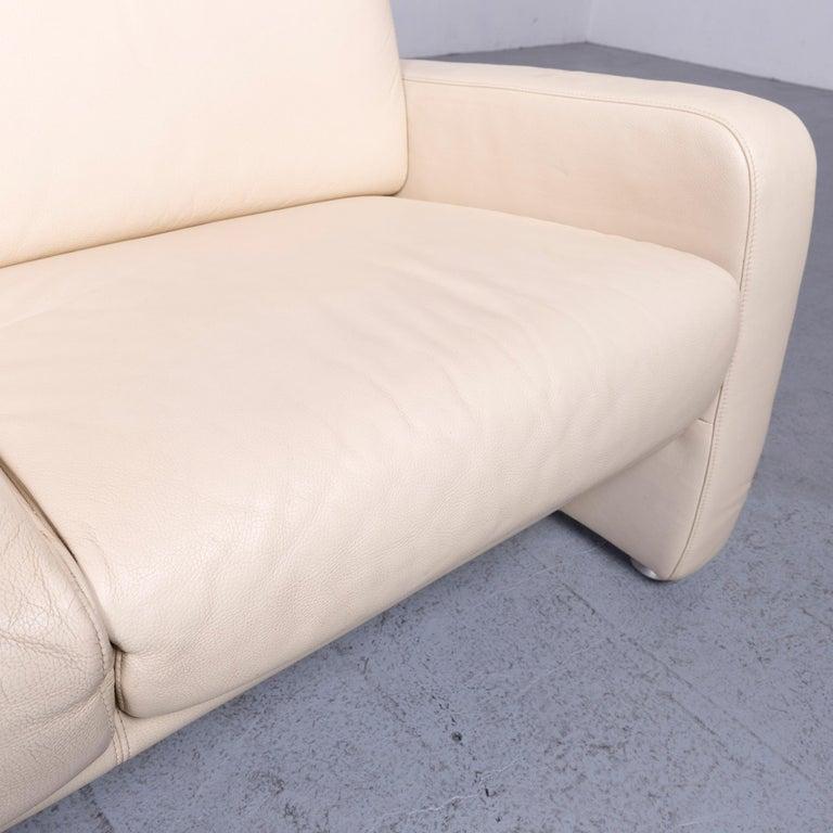 Contemporary Willi Schillig Designer Leather Sofa Beige Two-Seat Couch