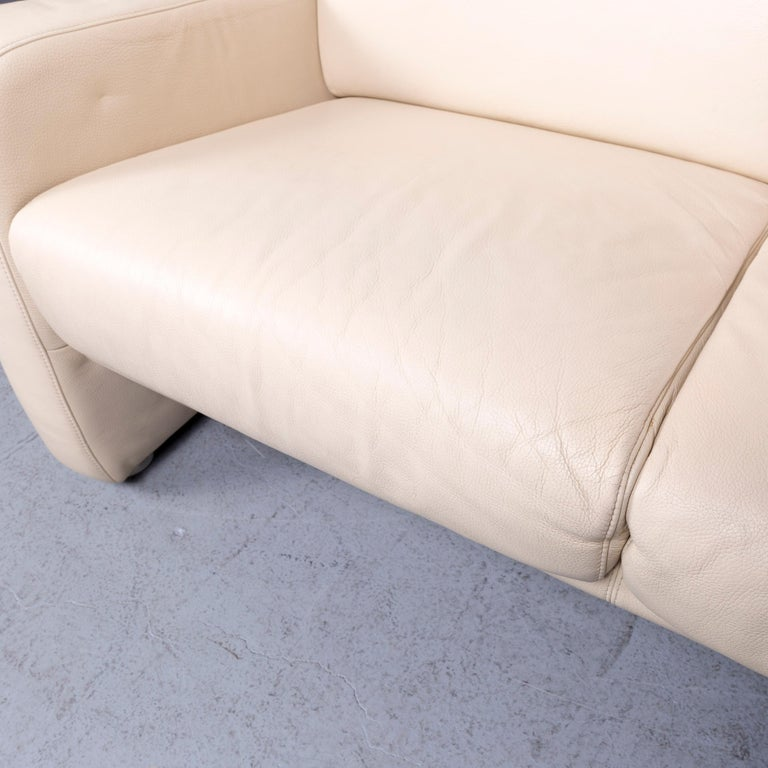 Willi Schillig Designer Leather Sofa Beige Two-Seat Couch 1