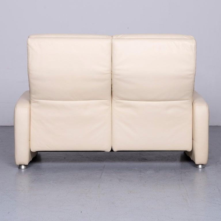 Willi Schillig Designer Leather Sofa Beige Two-Seat Couch 4