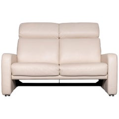 Willi Schillig Designer Leather Sofa Beige Two-Seat Couch