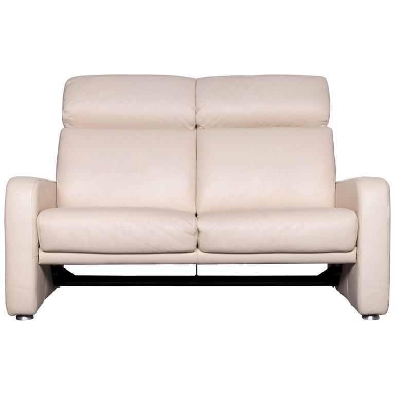 Willi Schillig Designer Leather Sofa Beige Two-Seat Couch