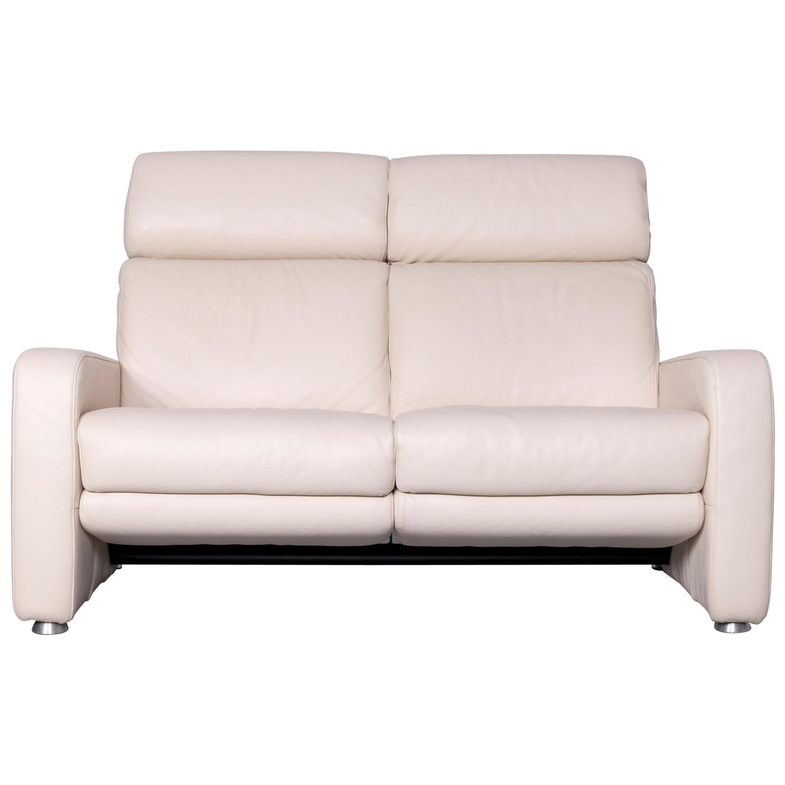 Willi Schillig Designer Leather Sofa Beige Two Seat Couch Recliner
