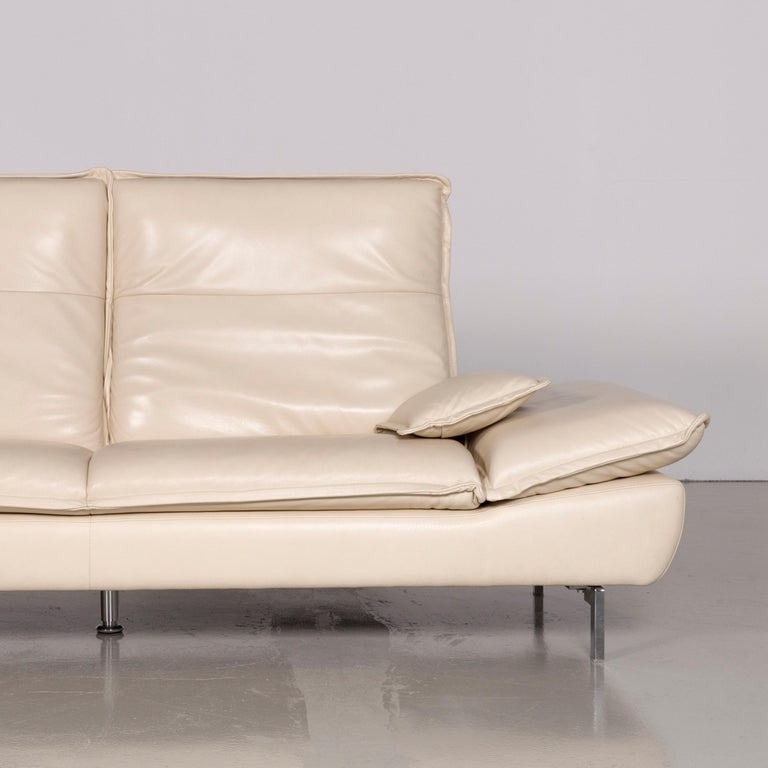 Willi Schillig Designer Leather Sofa Cream Genuine Leather Three-Seat Couch