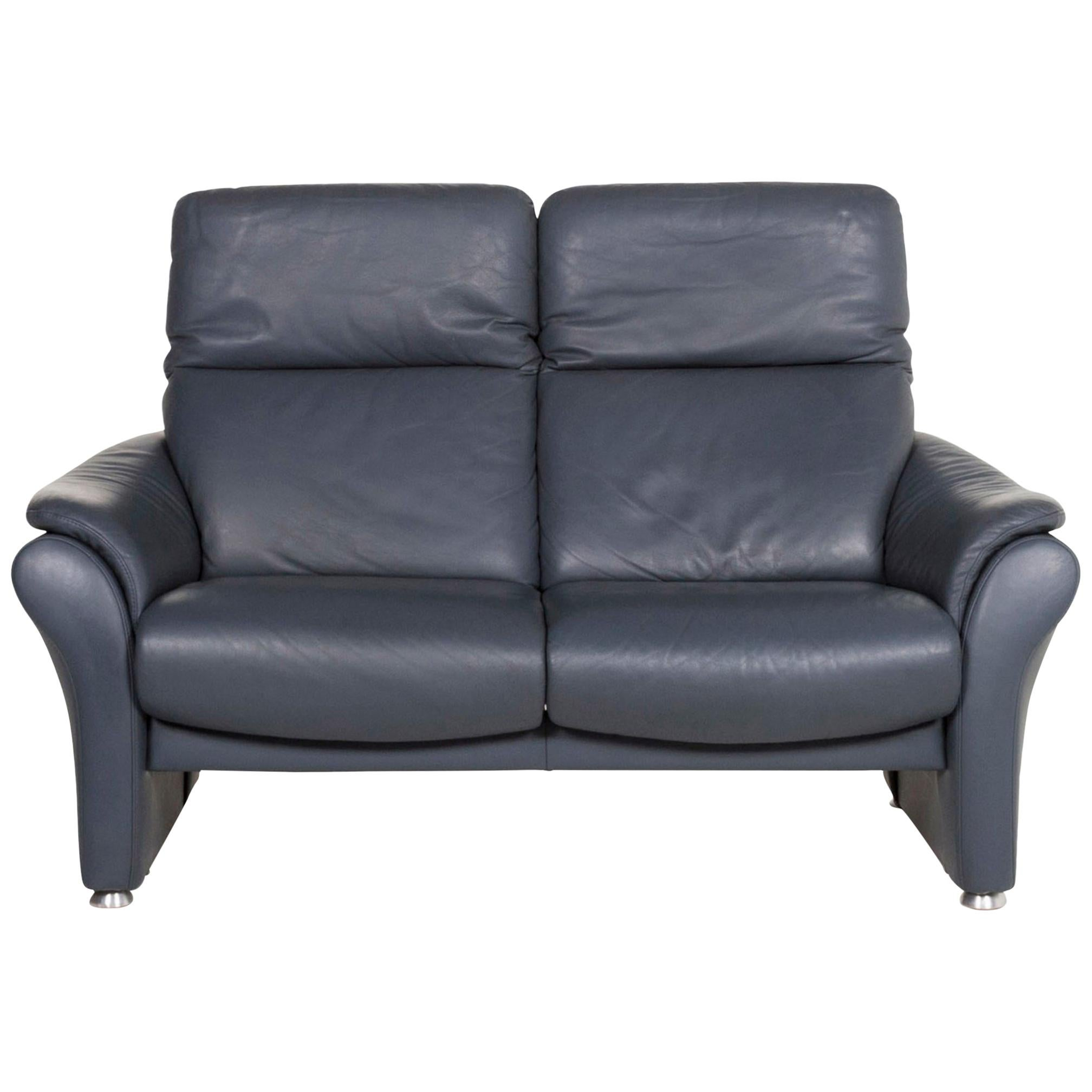 Willi Schillig Ergoline Leather Sofa Blue Two-Seat Function Relax Function