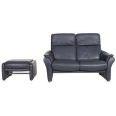 Willi Schillig Ergoline Leather Sofa Set Blue 1 Two-Seat 1 Stool Function