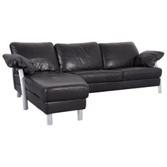 Willi Schillig Leather Corner-Sofa Black Couch