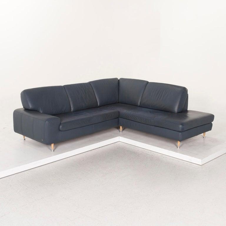 Willi Schillig Leather Corner Sofa Blue Sofa Couch 4