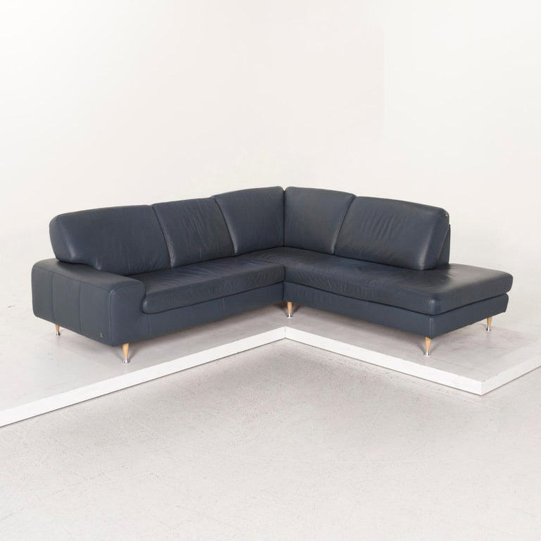 Willi Schillig Leather Corner Sofa Blue Sofa Couch For Sale 4