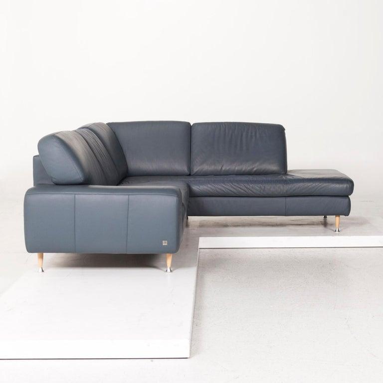 Willi Schillig Leather Corner Sofa Blue Sofa Couch 5