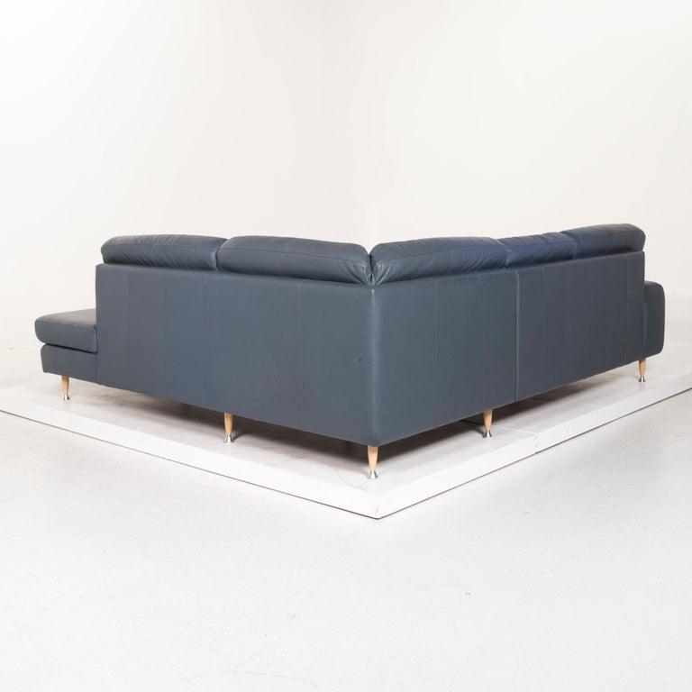 Willi Schillig Leather Corner Sofa Blue Sofa Couch 6
