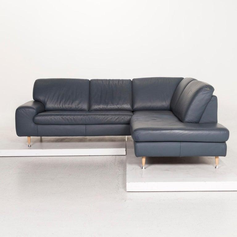 Willi Schillig Leather Corner Sofa Blue Sofa Couch 7