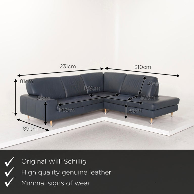 We bring to you a Willi Schillig leather corner sofa blue sofa couch.       Product measurements in centimeters:    Depth 89 Width 231 Height 81 Seat-height 41 Rest-height 51 Seat-depth 52 Seat-width 165 Back-height 41.