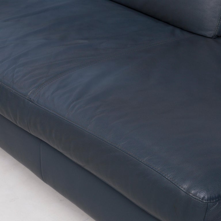 Modern Willi Schillig Leather Corner Sofa Blue Sofa Couch For Sale