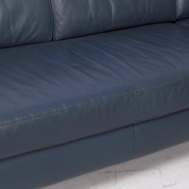 German Willi Schillig Leather Corner Sofa Blue Sofa Couch