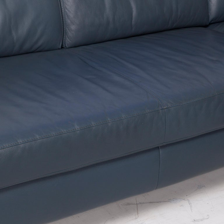 German Willi Schillig Leather Corner Sofa Blue Sofa Couch For Sale