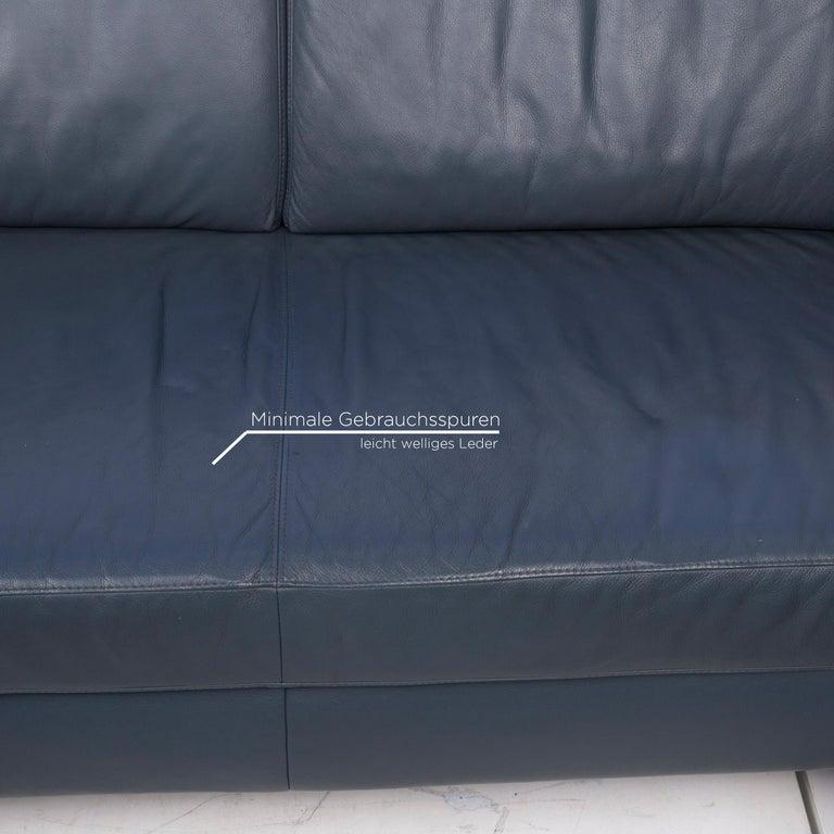 Willi Schillig Leather Corner Sofa Blue Sofa Couch In Good Condition In Cologne, DE