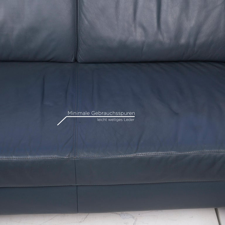 Willi Schillig Leather Corner Sofa Blue Sofa Couch In Good Condition For Sale In Cologne, DE