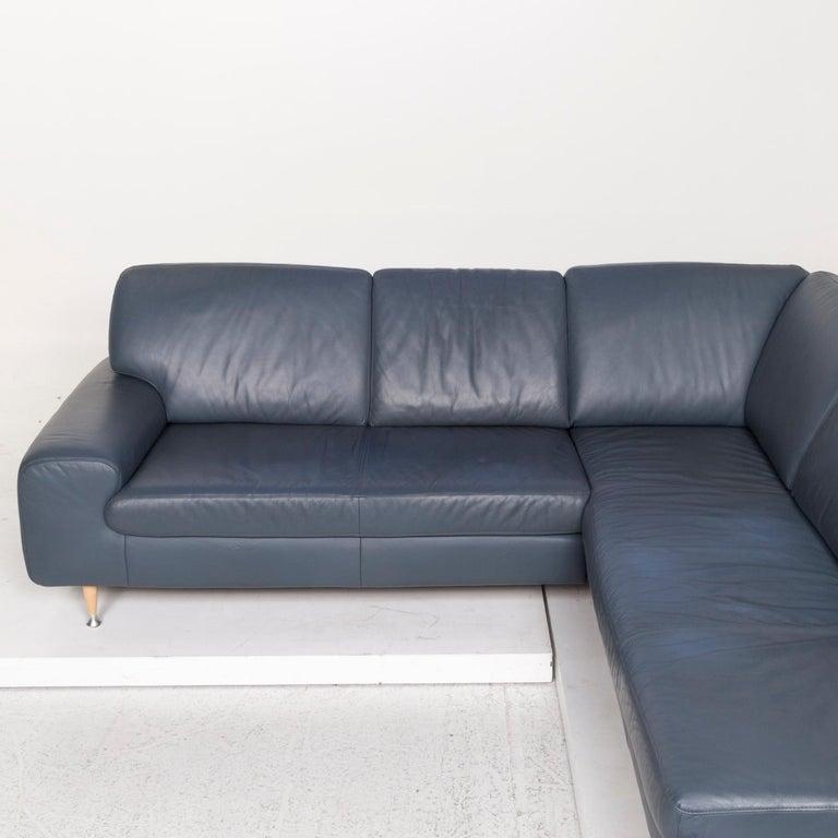 Willi Schillig Leather Corner Sofa Blue Sofa Couch 2