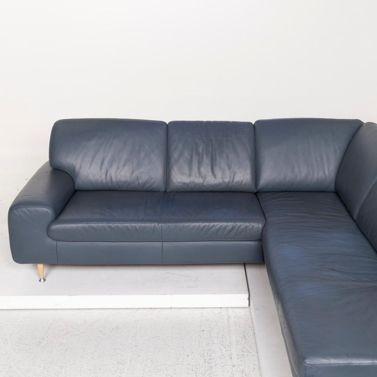Willi Schillig Leather Corner Sofa Blue Sofa Couch For Sale 2