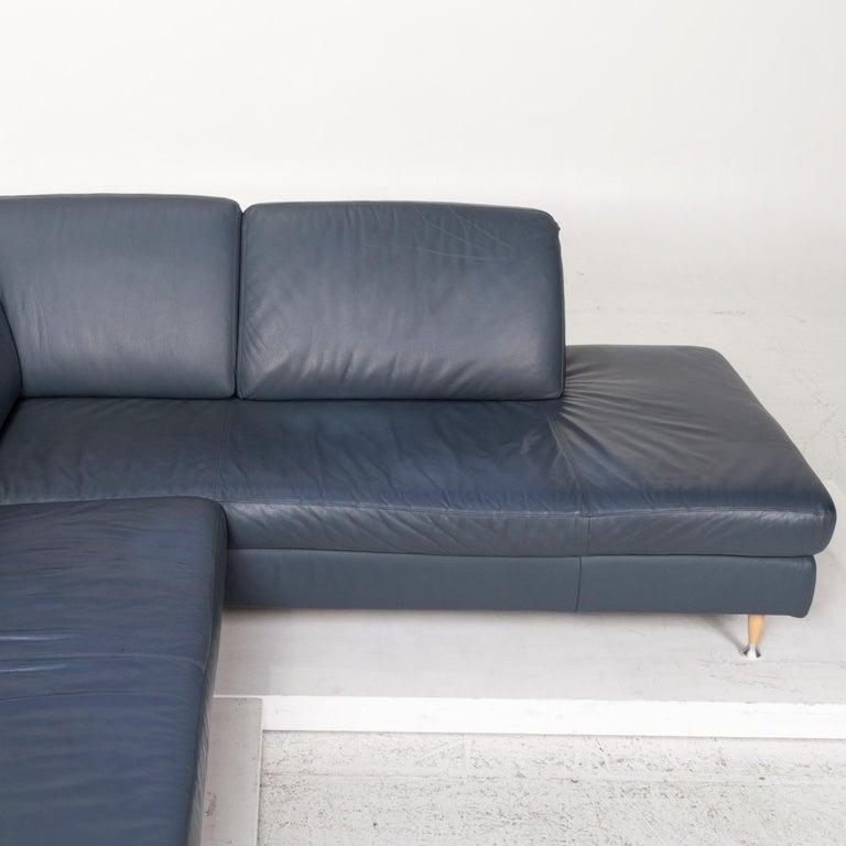 Willi Schillig Leather Corner Sofa Blue Sofa Couch 3