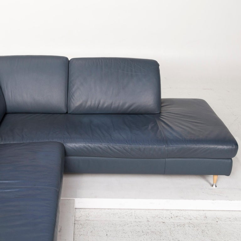 Willi Schillig Leather Corner Sofa Blue Sofa Couch For Sale 3