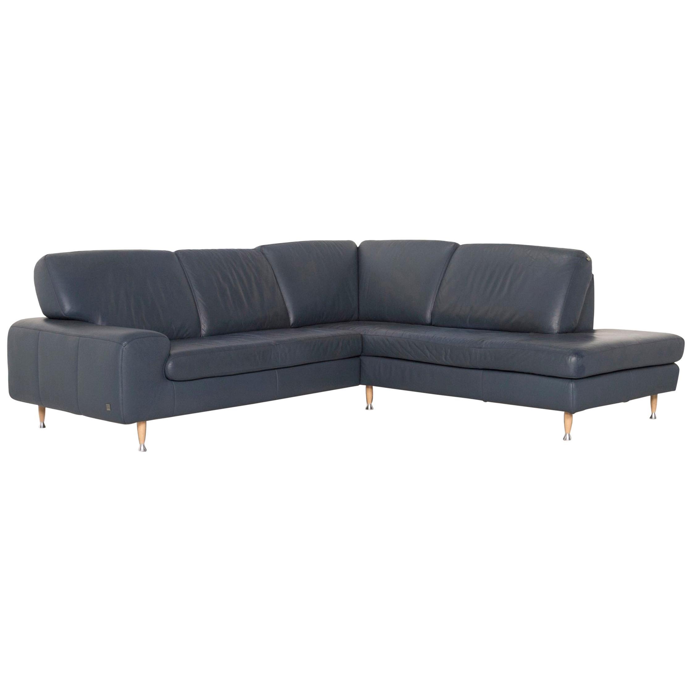 Willi Schillig Leather Corner Sofa Blue Sofa Couch