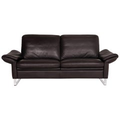 Willi Schillig Leather Sofa Anthracite Two-Seater Brown