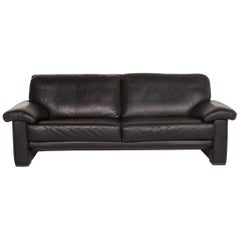 Willi Schillig Leather Sofa Black Three-Seat Couch