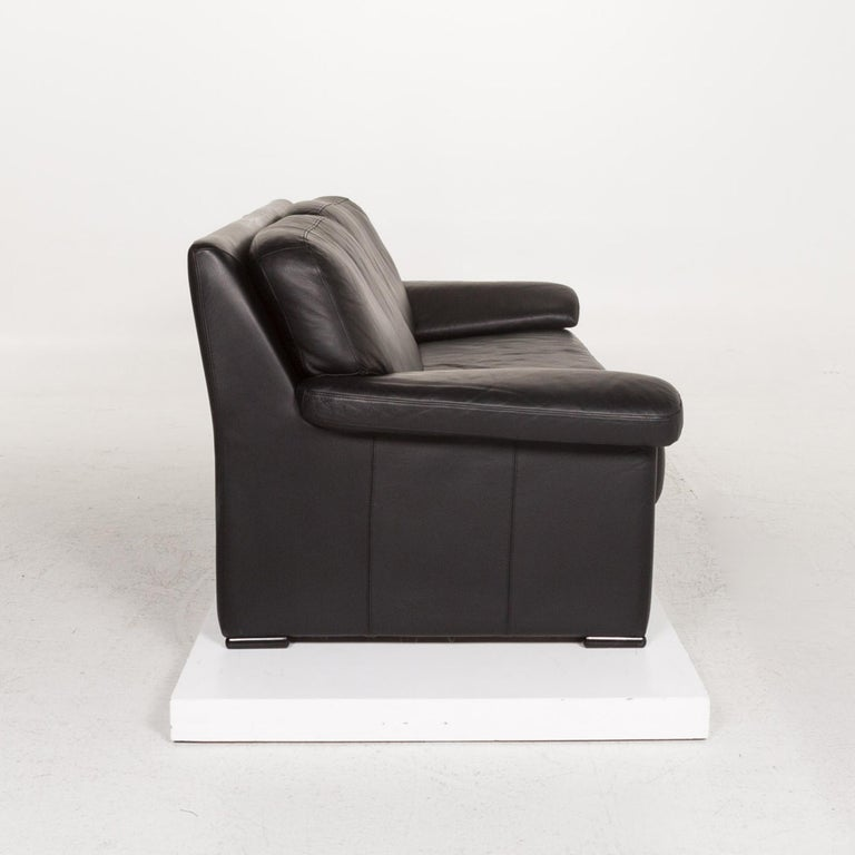Willi Schillig Leather Sofa Black Three-Seat Couch 4