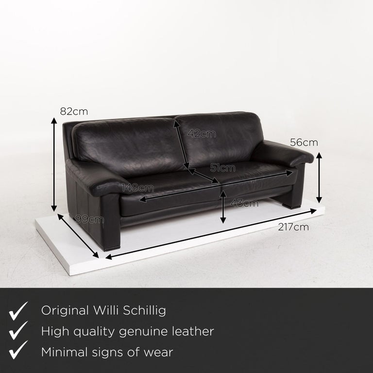 We present to you a Willi Schillig leather sofa black three-seat couch.