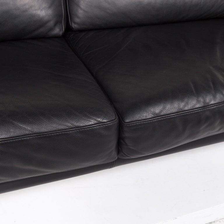 Modern Willi Schillig Leather Sofa Black Three-Seat Couch