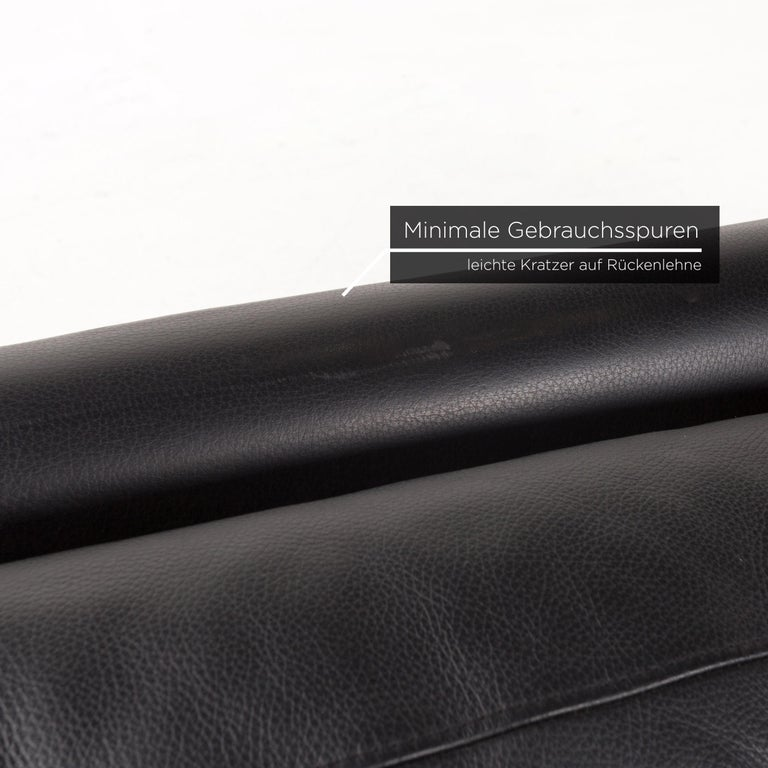 German Willi Schillig Leather Sofa Black Three-Seat Couch